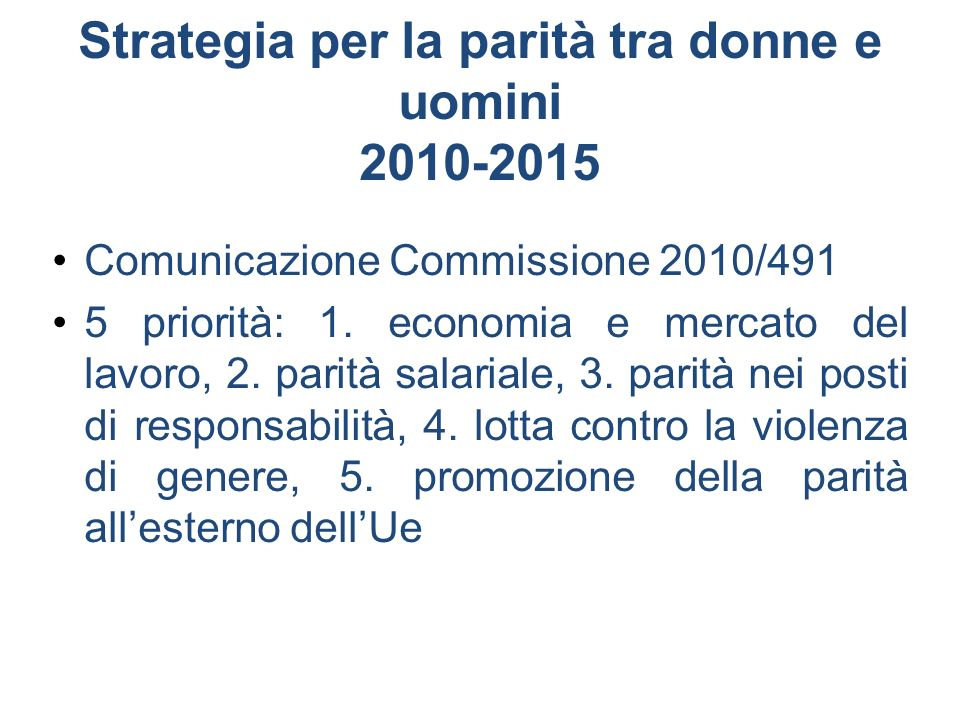 Strategia per la parità tra donne e uomini 2010-2015