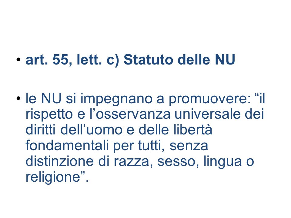 art. 55, lett. c) Statuto delle NU