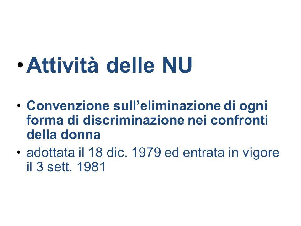 Attività delle NU Convenzione sull'eliminazione di ogni forma di discriminazione nei confronti della donna.