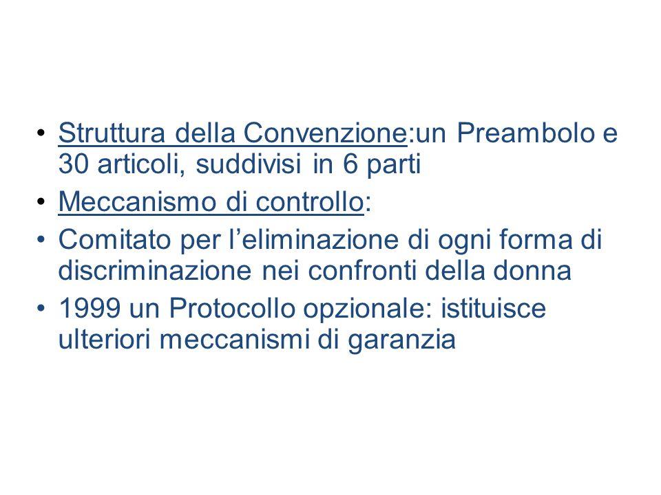 Struttura della Convenzione:un Preambolo e 30 articoli, suddivisi in 6 parti