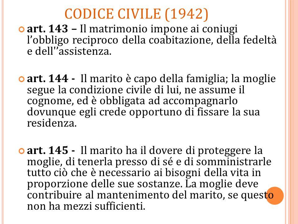 CODICE CIVILE (1942) art. 143 – Il matrimonio impone ai coniugi l'obbligo reciproco della coabitazione, della fedeltà e dell 'assistenza.