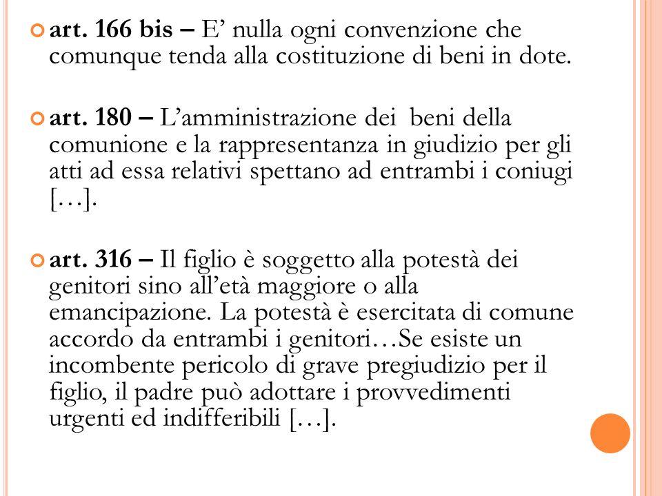 art. 166 bis – E' nulla ogni convenzione che comunque tenda alla costituzione di beni in dote.