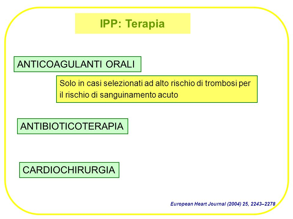 IPP: Terapia ANTICOAGULANTI ORALI ANTIBIOTICOTERAPIA CARDIOCHIRURGIA