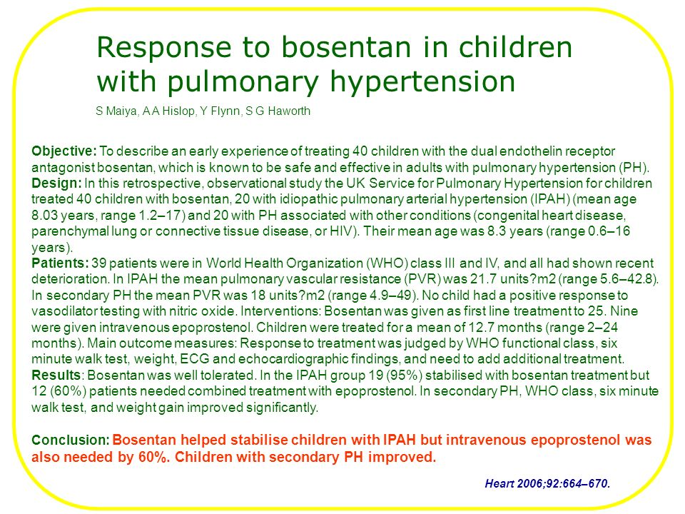 Response to bosentan in children with pulmonary hypertension