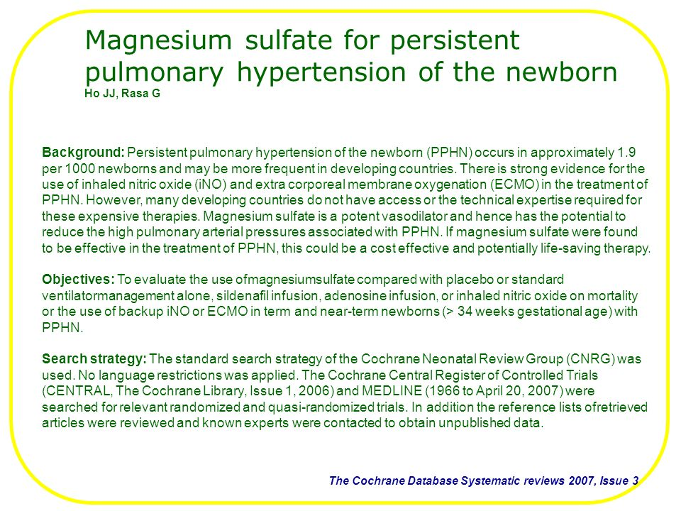 Magnesium sulfate for persistent pulmonary hypertension of the newborn
