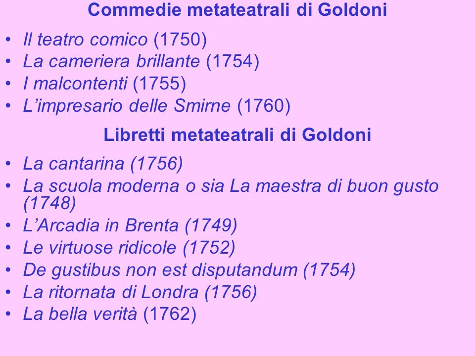 Commedie metateatrali di Goldoni Libretti metateatrali di Goldoni