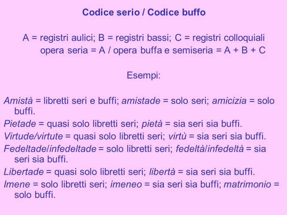Codice serio / Codice buffo