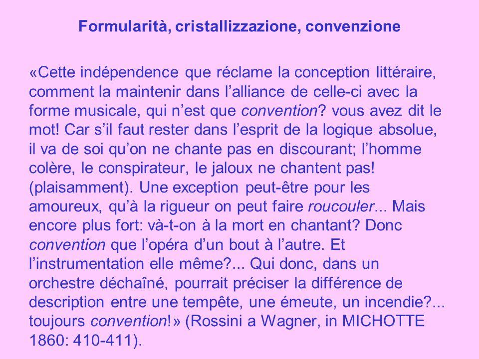 Formularità, cristallizzazione, convenzione «Cette indépendence que réclame la conception littéraire, comment la maintenir dans l'alliance de celle-ci avec la forme musicale, qui n'est que convention.