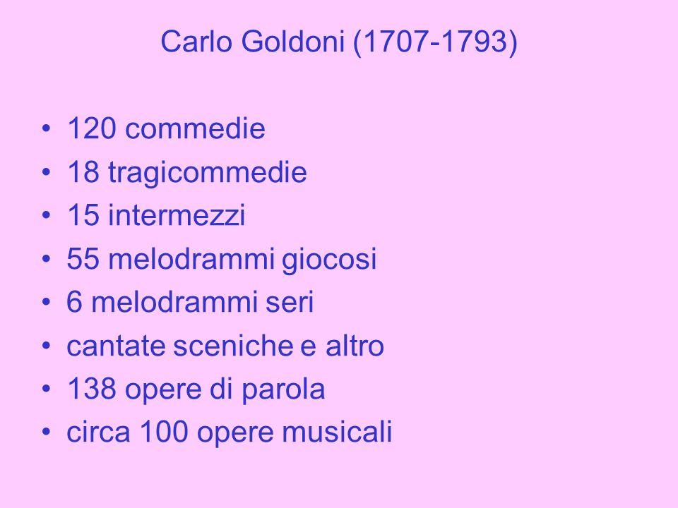 Carlo Goldoni (1707-1793) 120 commedie. 18 tragicommedie. 15 intermezzi. 55 melodrammi giocosi. 6 melodrammi seri.