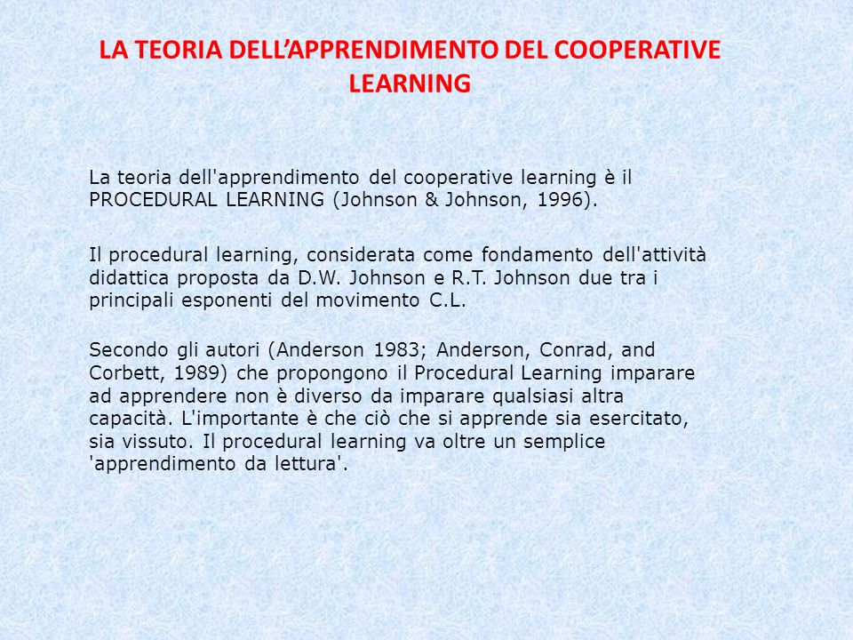 LA TEORIA DELL'APPRENDIMENTO DEL COOPERATIVE LEARNING