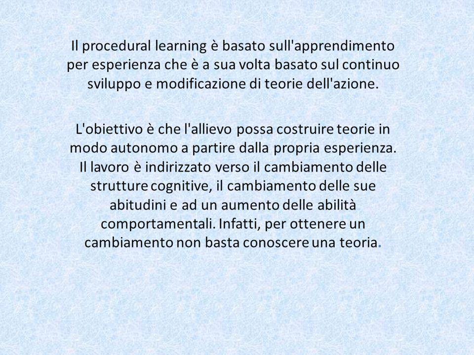 Il procedural learning è basato sull apprendimento per esperienza che è a sua volta basato sul continuo sviluppo e modificazione di teorie dell azione.