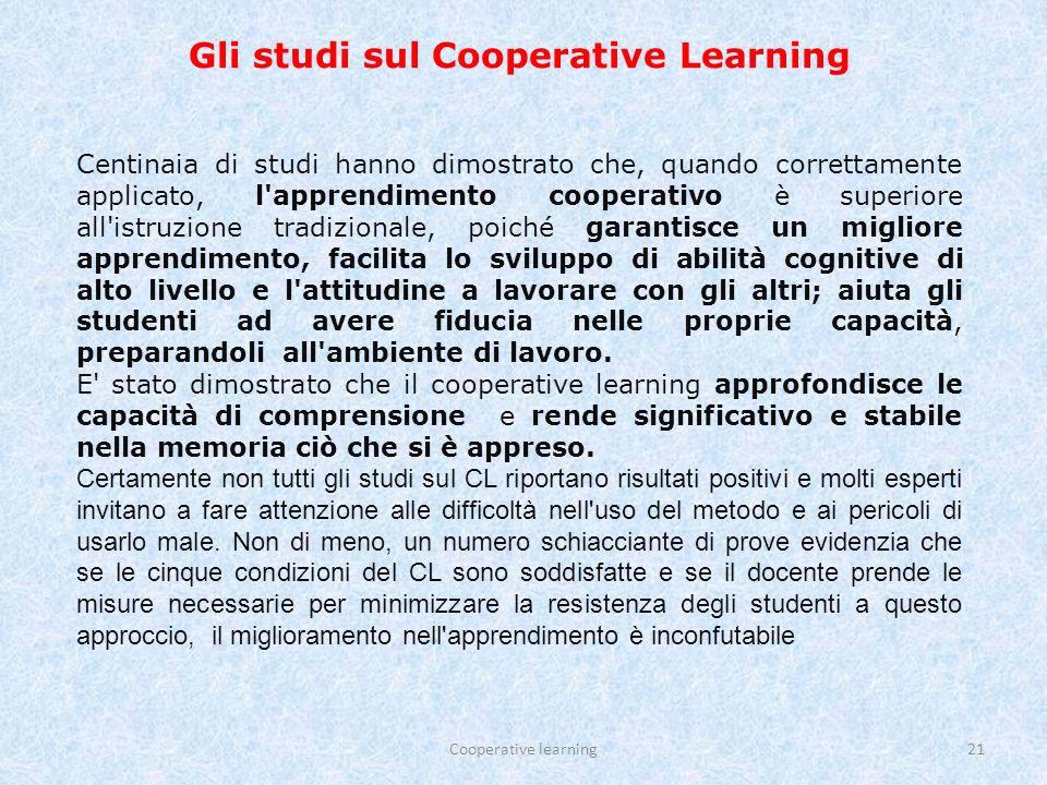 Gli studi sul Cooperative Learning
