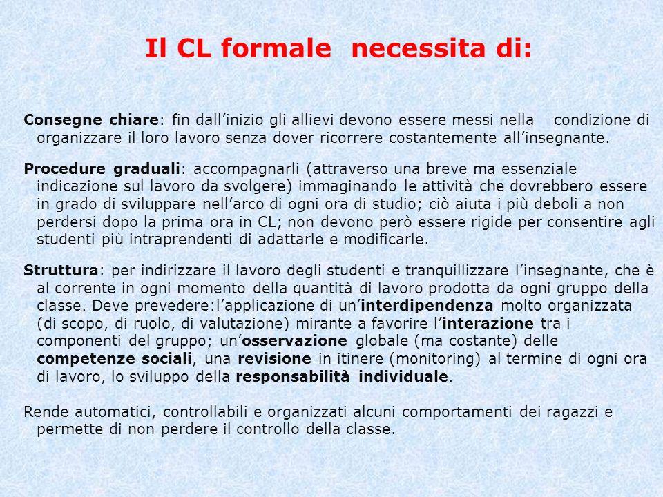 Il CL formale necessita di: