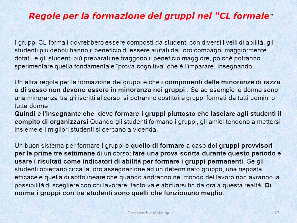 Regole per la formazione dei gruppi nel CL formale