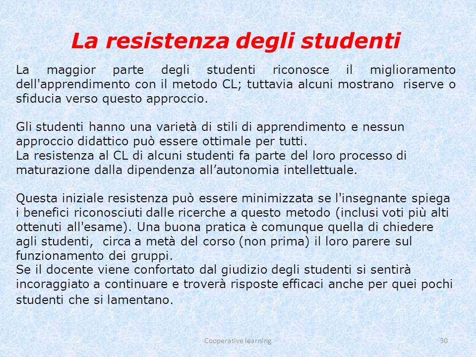 La resistenza degli studenti