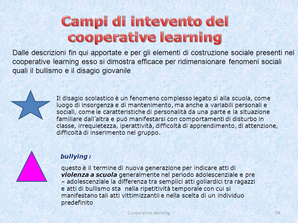 Campi di intevento del cooperative learning