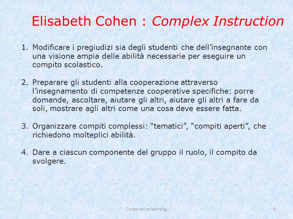 Elisabeth Cohen : Complex Instruction