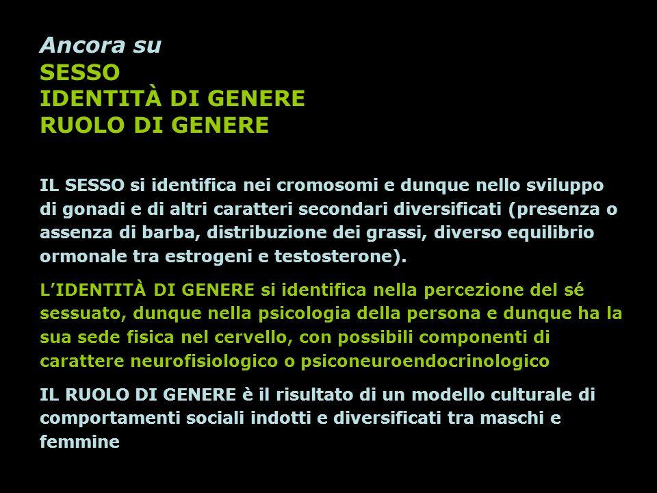 Ancora su SESSO IDENTITÀ DI GENERE RUOLO DI GENERE