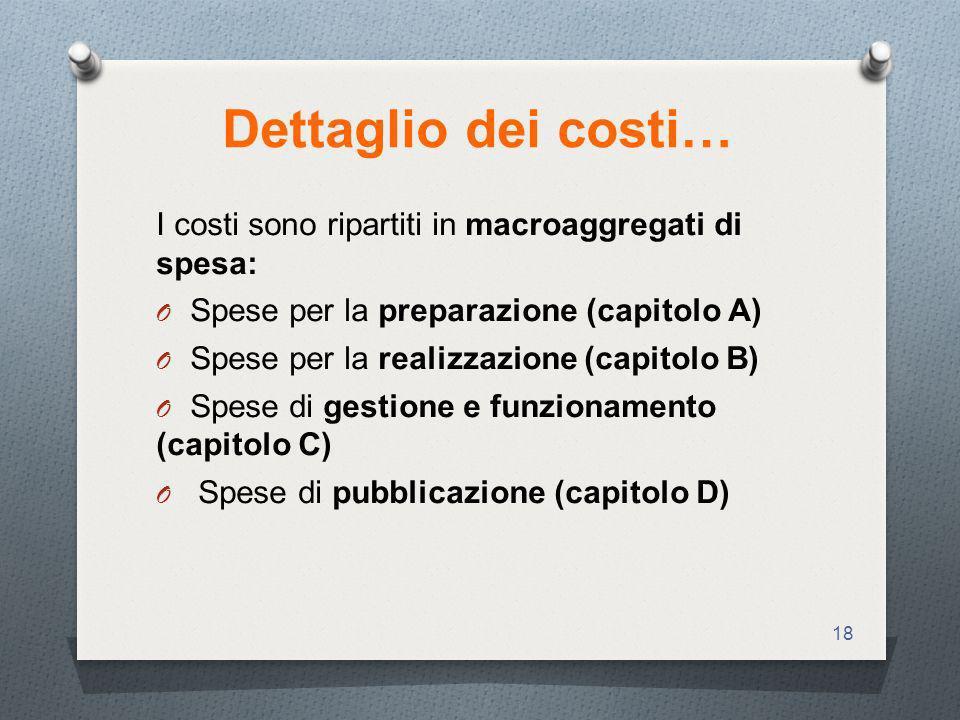 Dettaglio dei costi… I costi sono ripartiti in macroaggregati di spesa: Spese per la preparazione (capitolo A)