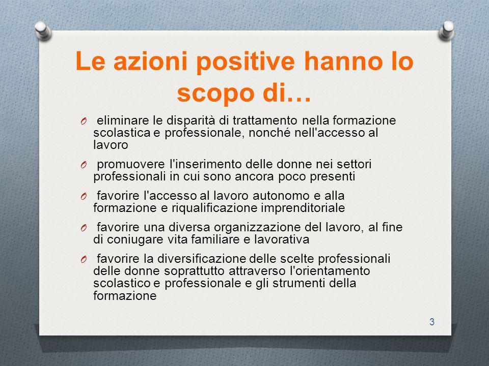 Le azioni positive hanno lo scopo di…