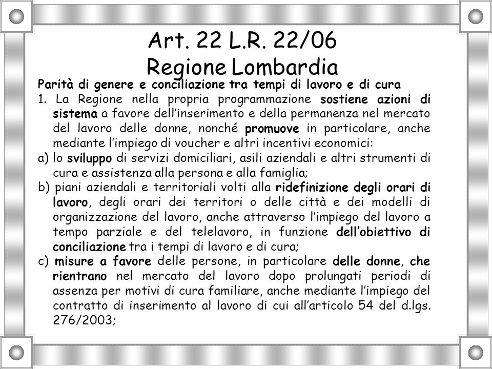Art. 22 L.R. 22/06 Regione Lombardia