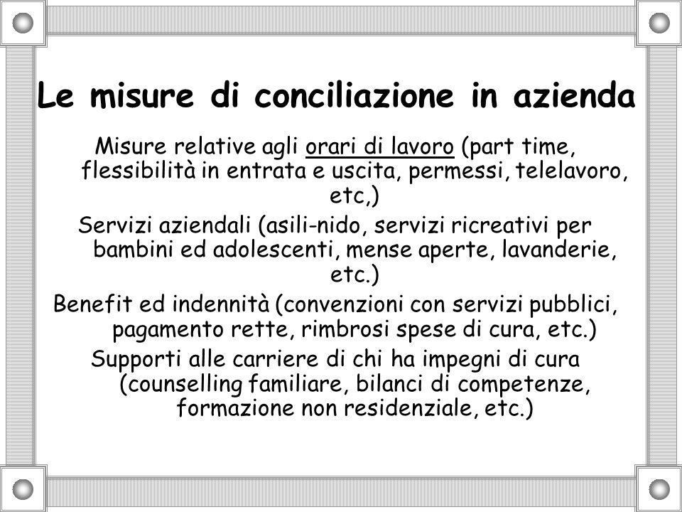 Le misure di conciliazione in azienda