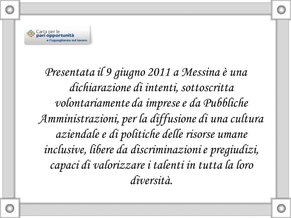 Presentata il 9 giugno 2011 a Messina è una dichiarazione di intenti, sottoscritta volontariamente da imprese e da Pubbliche Amministrazioni, per la diffusione di una cultura aziendale e di politiche delle risorse umane inclusive, libere da discriminazioni e pregiudizi, capaci di valorizzare i talenti in tutta la loro diversità.