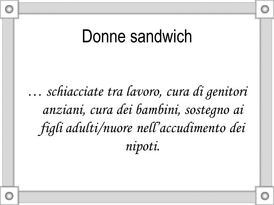 Donne sandwich … schiacciate tra lavoro, cura di genitori anziani, cura dei bambini, sostegno ai figli adulti/nuore nell'accudimento dei nipoti.