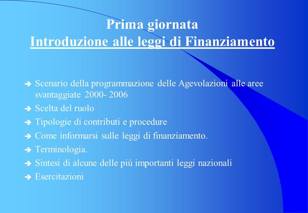 Prima giornata Introduzione alle leggi di Finanziamento