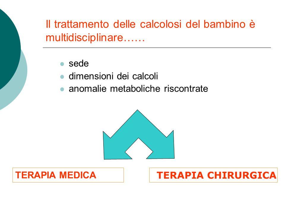 Il trattamento delle calcolosi del bambino è multidisciplinare……