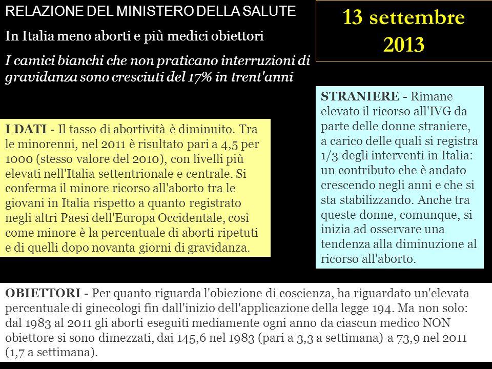13 settembre 2013 RELAZIONE DEL MINISTERO DELLA SALUTE