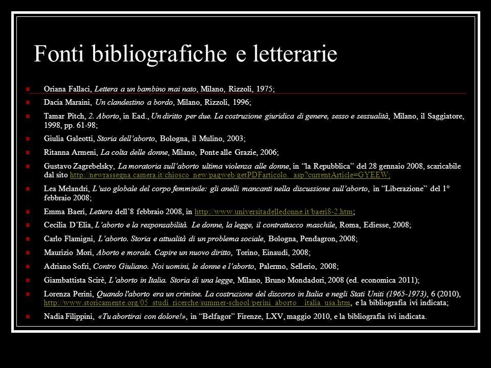 Fonti bibliografiche e letterarie