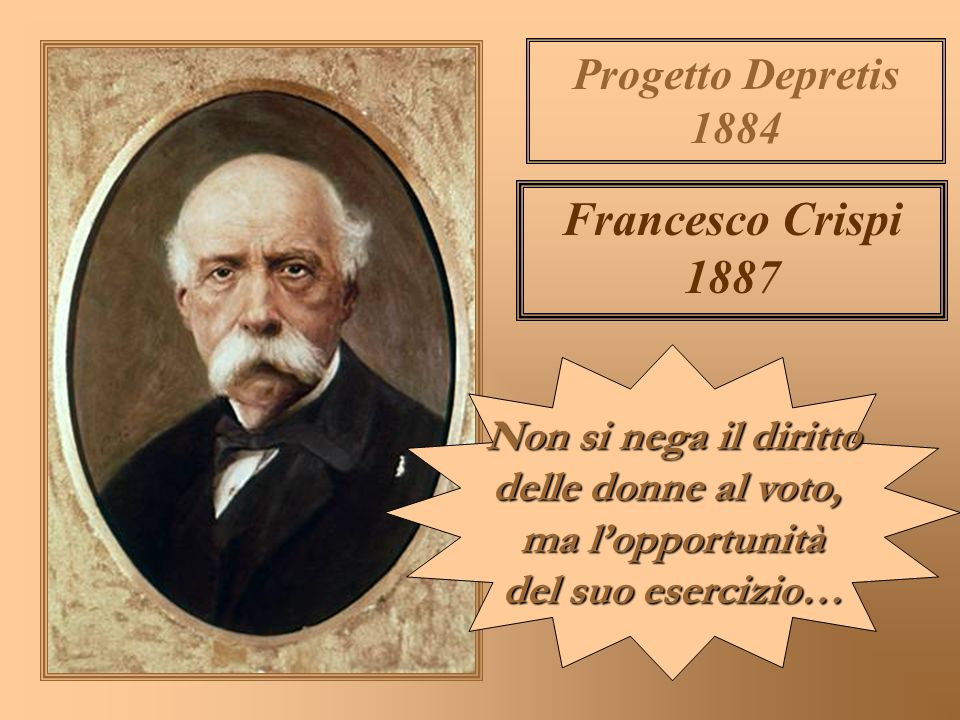 Francesco Crispi 1887 Progetto Depretis 1884 Non si nega il diritto