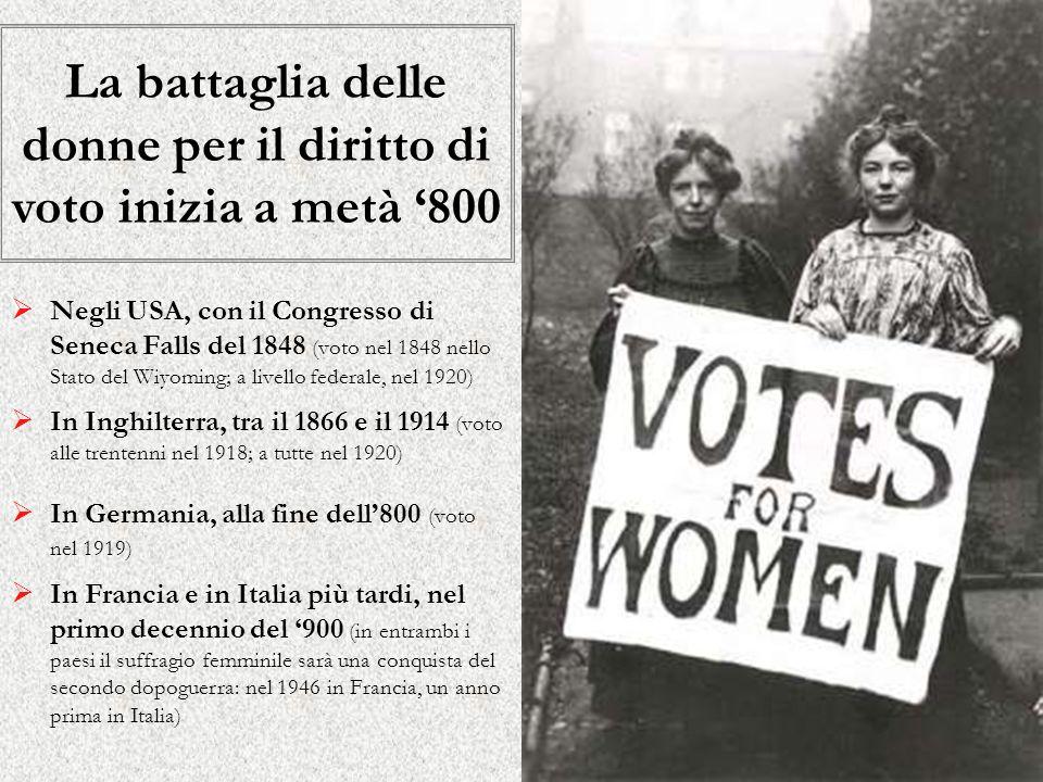 La battaglia delle donne per il diritto di voto inizia a metà '800
