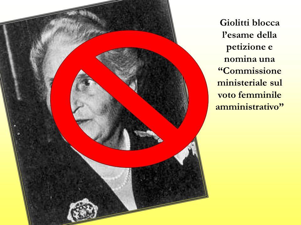 Giolitti blocca l'esame della petizione e nomina una Commissione ministeriale sul voto femminile amministrativo