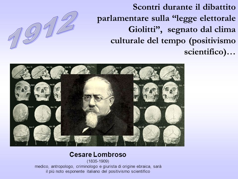 Scontri durante il dibattito parlamentare sulla legge elettorale Giolitti , segnato dal clima culturale del tempo (positivismo scientifico)…