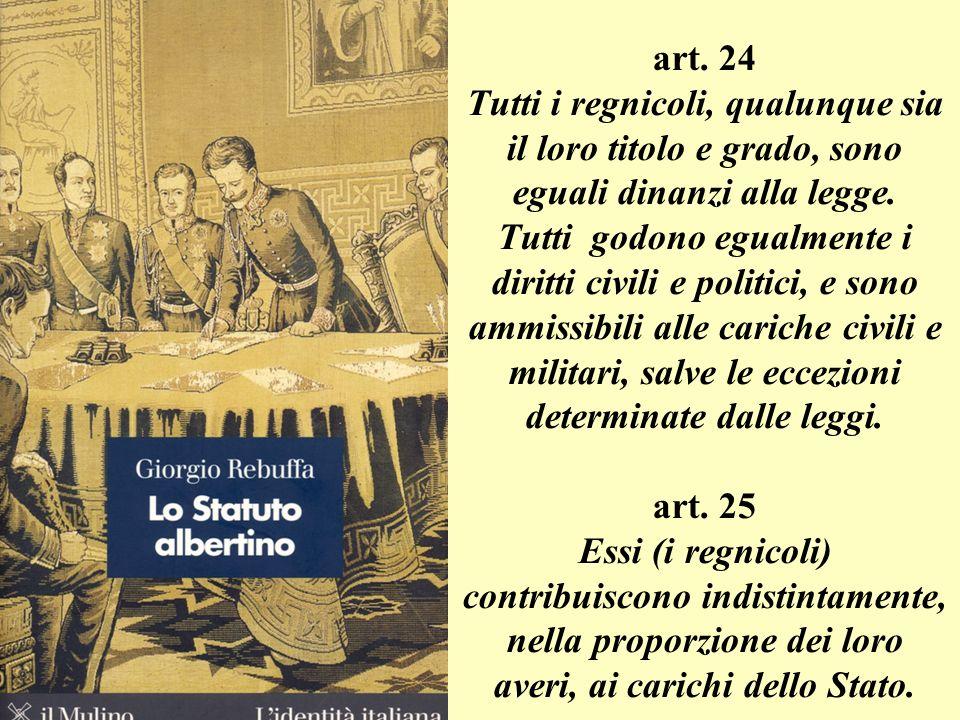 art.24 Tutti i regnicoli, qualunque sia il loro titolo e grado, sono eguali dinanzi alla legge.