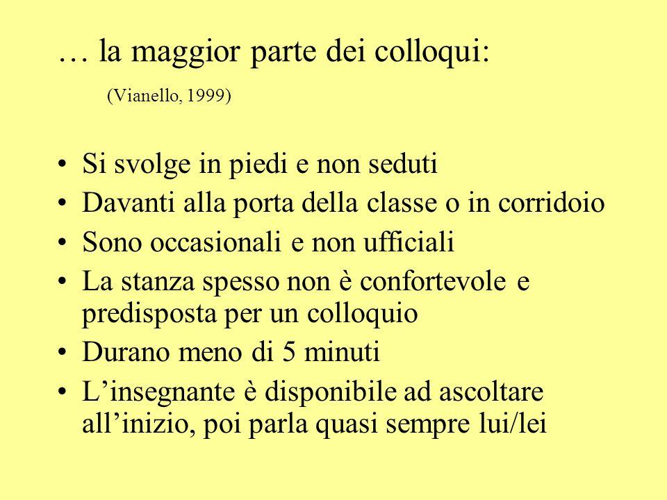 … la maggior parte dei colloqui: (Vianello, 1999)