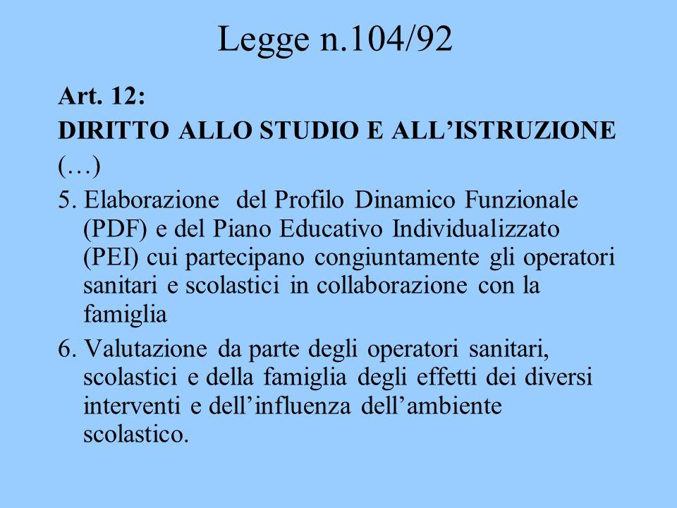 Legge n.104/92 Art. 12: DIRITTO ALLO STUDIO E ALL'ISTRUZIONE (…)