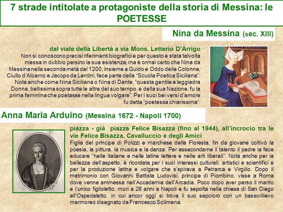 7 strade intitolate a protagoniste della storia di Messina: le POETESSE