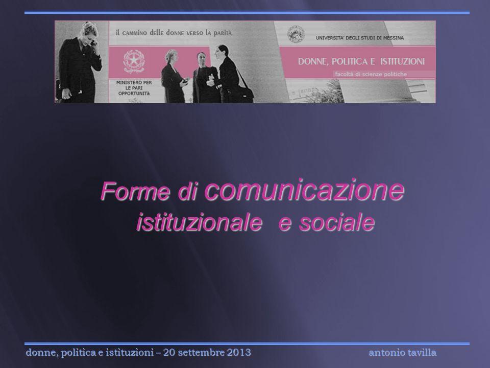 Forme di comunicazione istituzionale e sociale