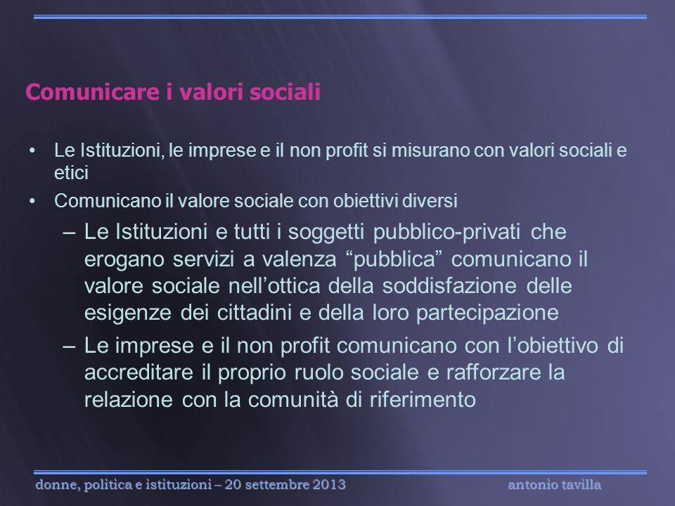 Comunicare i valori sociali