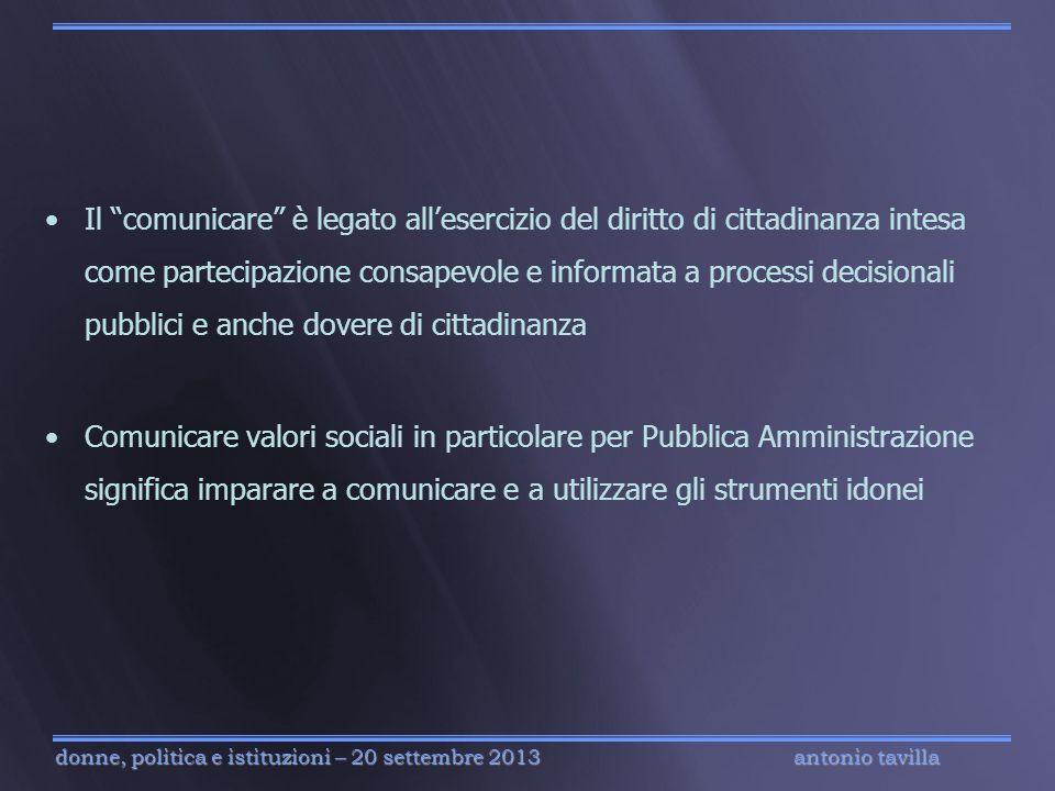 Il comunicare è legato all'esercizio del diritto di cittadinanza intesa come partecipazione consapevole e informata a processi decisionali pubblici e anche dovere di cittadinanza