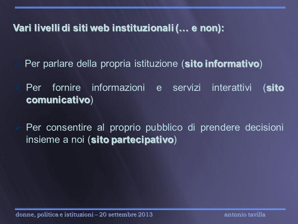 Vari livelli di siti web instituzionali (… e non):