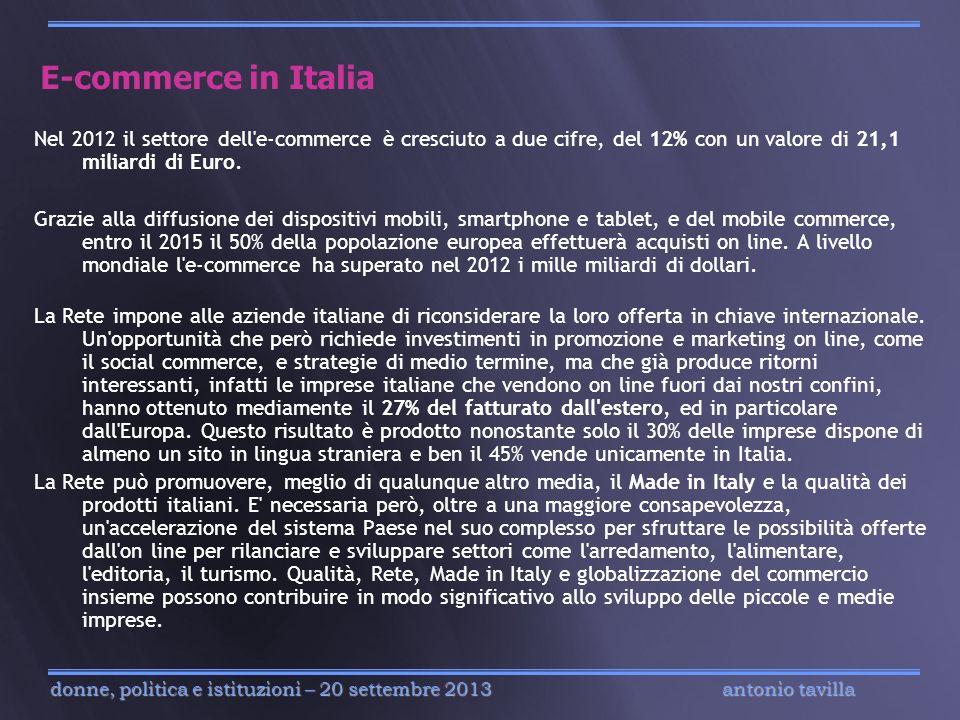 E-commerce in ItaliaNel 2012 il settore dell e-commerce è cresciuto a due cifre, del 12% con un valore di 21,1 miliardi di Euro.