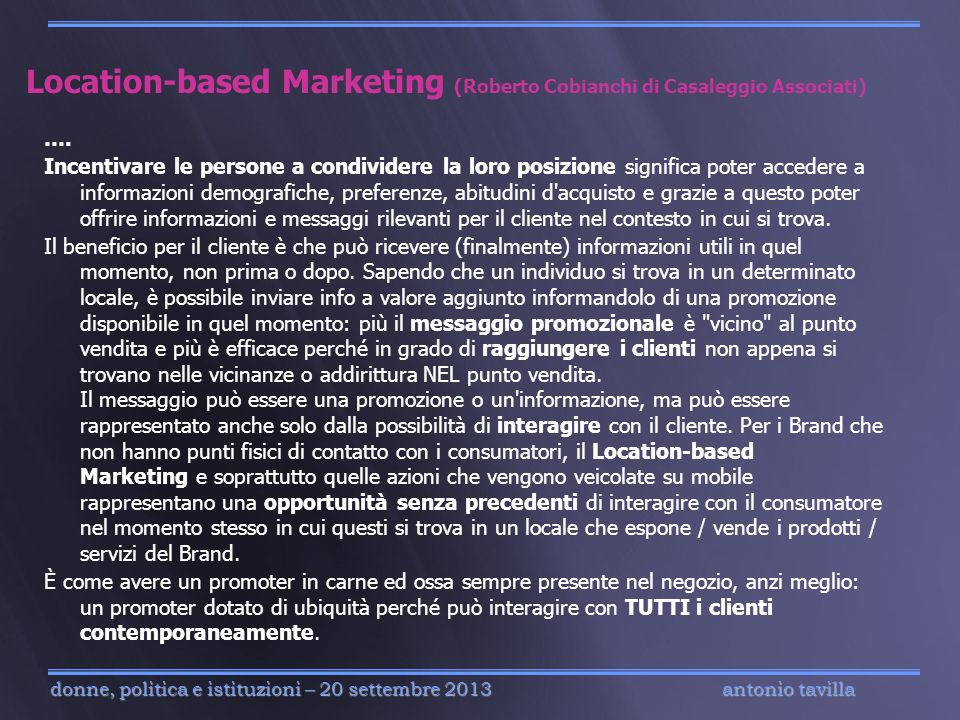 Location-based Marketing (Roberto Cobianchi di Casaleggio Associati)