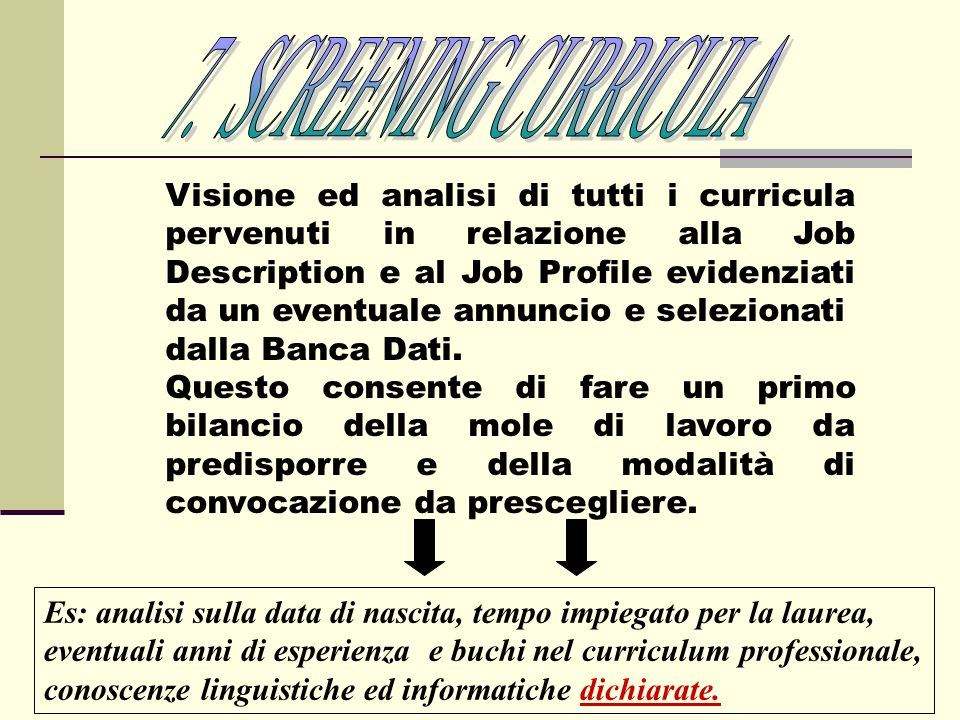 7. SCREENING CURRICULA