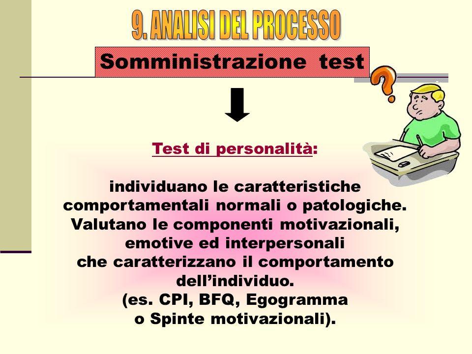9. ANALISI DEL PROCESSO Somministrazione test Test di personalità: