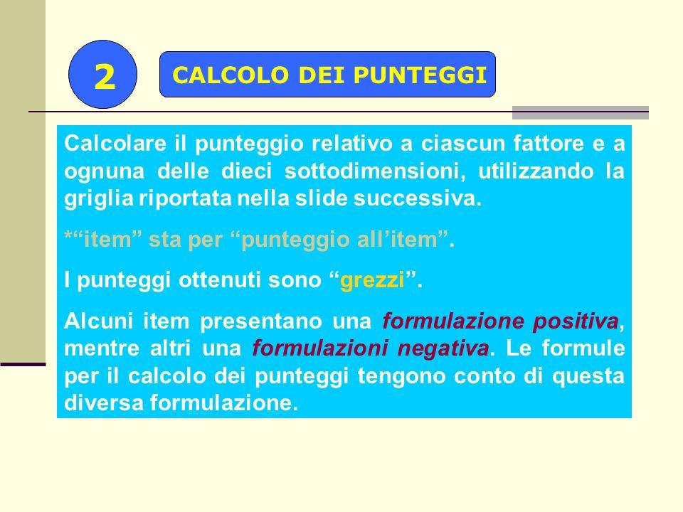 2 CALCOLO DEI PUNTEGGI.