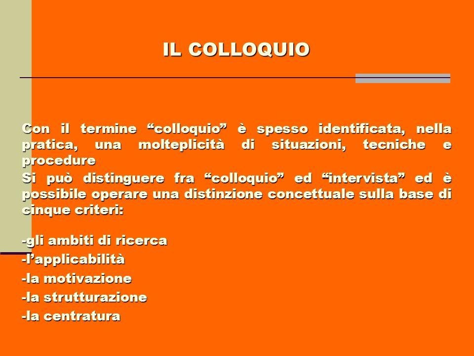 IL COLLOQUIO Con il termine colloquio è spesso identificata, nella pratica, una molteplicità di situazioni, tecniche e procedure.